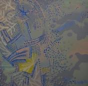 "Blue Matter, $40, 6x6"" acrylic on canvas board"